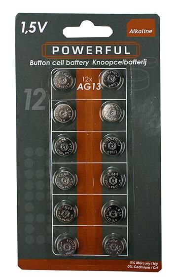 Billede af GA Import A/S, AG13/LR44 Knapcellbatterier, 12 stk
