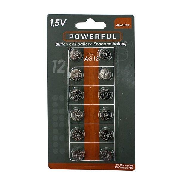 AG13/LR44 Knapcellbatterier, 12 stk