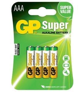 GP Super Alkaline AAA batterier, 4 stk