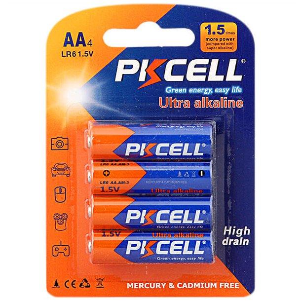PK Cell Alkaline AA Batterier, 4 stk