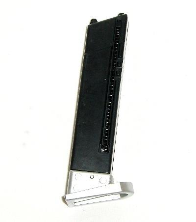 Airsoft magasin, manuel, M92FS, sølv 12 skuds